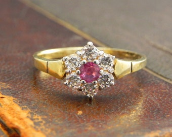 Sterling Silver Gold Vermeil Ring with Round Cut Ruby and CZ Stones / Fine Silver Jewelry Size 7.5 / Ruby Ring
