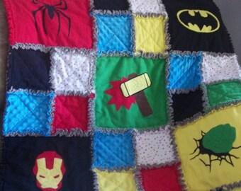 Toddler Superhero Rag Flannel Blanket Superhero Quilt / Comic Book Quilt / Superhero Rag Quilt / Comic Book Rag Quilt / Baby Rag Quilt