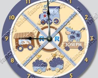 TRAIN NURSERY WALL CLOCK PERSONALIZED GIFT CHOO CHOO BOYS BLUE BEDROOM DECOR