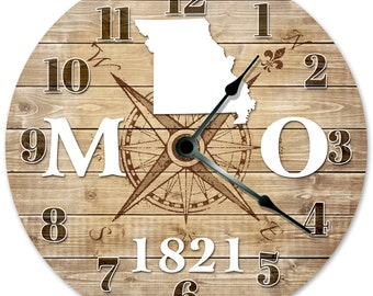 ALASKA Established in 1959 COMPASS CLOCK Large 10.5 inch Wall Clock