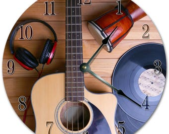 Wood Guitar Clock Etsy