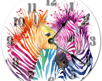 "10.5"" COLORFUL ZEBRAS Design Clock - Living Room Clock - Large 10.5"" Wall Clock - Home Décor Clock - 5079"