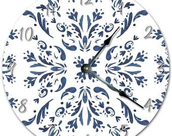 "10.5"" Blue And White Artistic Design Clock - Living Room Clock - Large 10.5"" Wall Clock - Home Décor Clock - 5676"