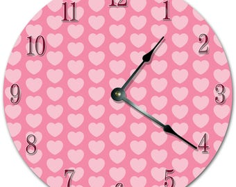 "10.5"" HEART Pattern Clock - PINK Clock - Living Room Clock - Large 10.5"" Wall Clock - Home Décor Clock - 5712"