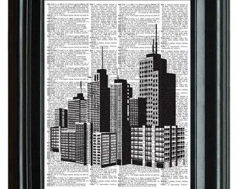 City Building Skyline Vintage Print, VINTAGE DICTIONARY PRINT, dictionary page, Upcycled dnictioary art print,  8.25x11.25 num. 82