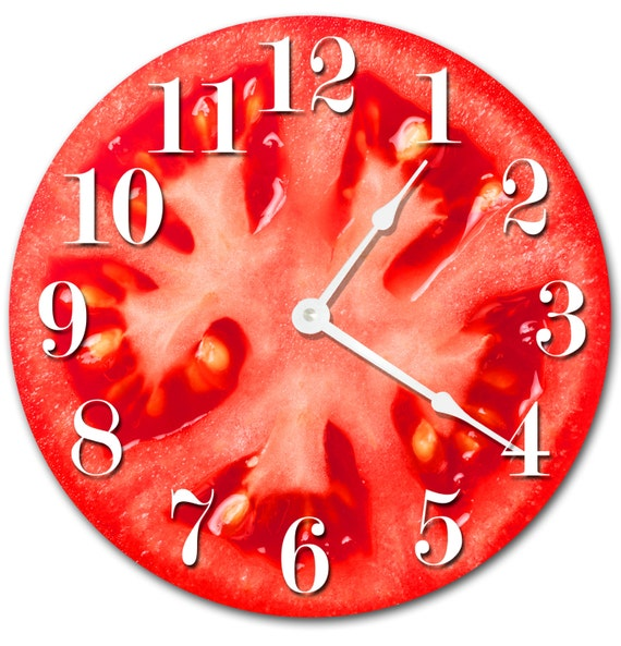 TOMATO Clock Large 10.5 inch Clock Novelty Clocks Wall Clocks Round Clock,  food clock, kitchen clock, red vegetables clock - 2017