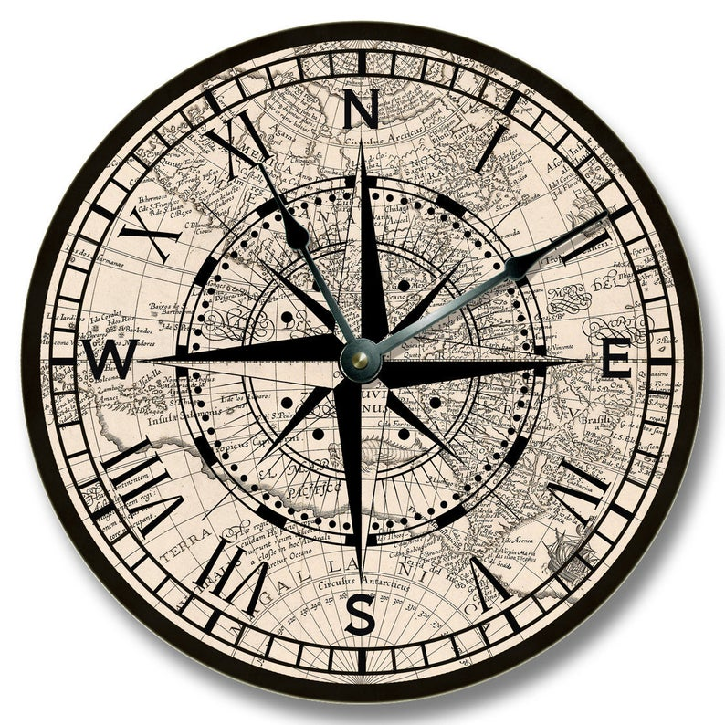 Compass Rose Wall Clock Old Map Pattern Large 10 5 Etsy