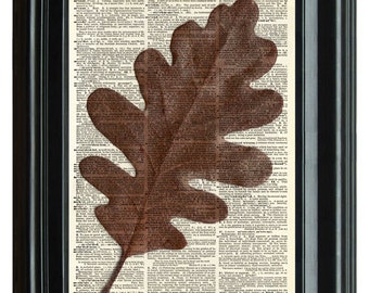 VINTAGE DICTIONARY PRINT, dictionary page, Oak leaves Vintage Print, Upcycled dictionary art print, Geekery nature Print, 8.25x11.25