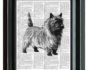 Dog Terrier Vintage Print, VINTAGE DICTIONARY PRINT, dictionary page, Upcycled dictionary art print,  8.25x11.25 num. 71