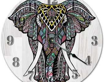 "10.5"" ABSTRACT ELEPHANT Design Clock - Living Room Clock - Large 10.5"" Wall Clock - Home Décor Clock - 4177"