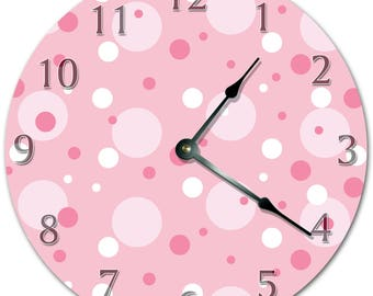 "10.5"" Random CIRCLES Design Clock - PINK Clock - Living Room Clock - Large 10.5"" Wall Clock - Home Décor Clock - 5702"