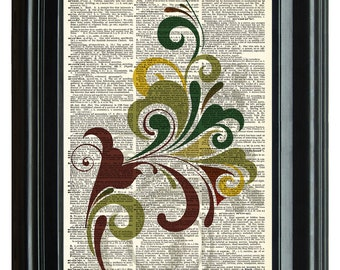 VINTAGE DICTIONARY PRINT, dictionary page, Upcycled dictionary art print, Abstract Floral Art design 8.25x11.25 num. 25