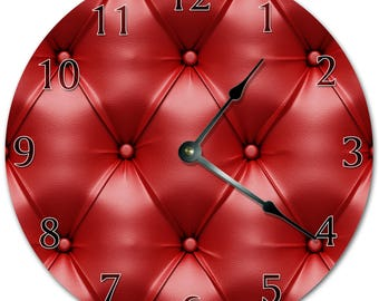 "10.5"" Red LEATHER Couch Design Clock - Living Room Clock - Large 10.5"" Wall Clock - Home Décor Clock - 5774"