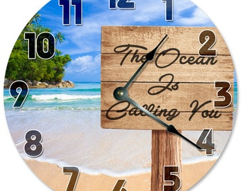 "The OCEAN IS CALLING You Clock - Large 10.5"" Wall Clock - 2093"