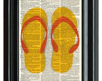 Flip Flops Sandals Beach Vintage Print, VINTAGE DICTIONARY PRINT, dictionary page, Upcycled dnictioary art print,  8.25x11.25 num. 98