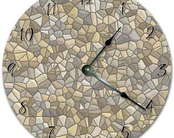 "10.5"" ROCK MOSAIC Design Clock - Living Room Clock - Large 10.5"" Wall Clock - Home Décor Clock - 5771"
