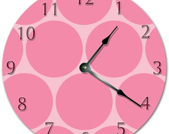 "10.5"" BIG CIRCLE Design Clock - PINK Clock - Living Room Clock - Large 10.5"" Wall Clock - Home Décor Clock - 5706"