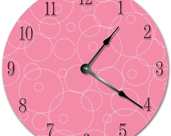 "10.5"" Dotted CIRCLE Clock - PINK Clock - Living Room Clock - Large 10.5"" Wall Clock - Home Décor Clock - 5708"