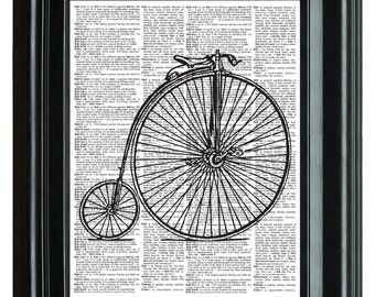 Antique Bicycles Vintage Print, VINTAGE DICTIONARY PRINT, dictionary page, Upcycled dictionary art print,  8.25x11.25 num. 61