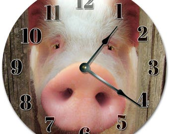 "10.5"" Peeking PIG Clock - Living Room Clock - Large 10.5"" Wall Clock - Home Décor Clock - 5091"