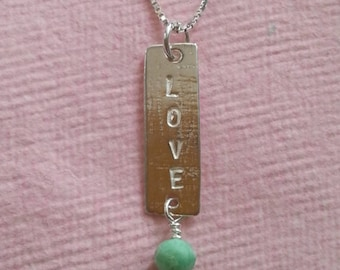 Handmade sterling silver Love necklace