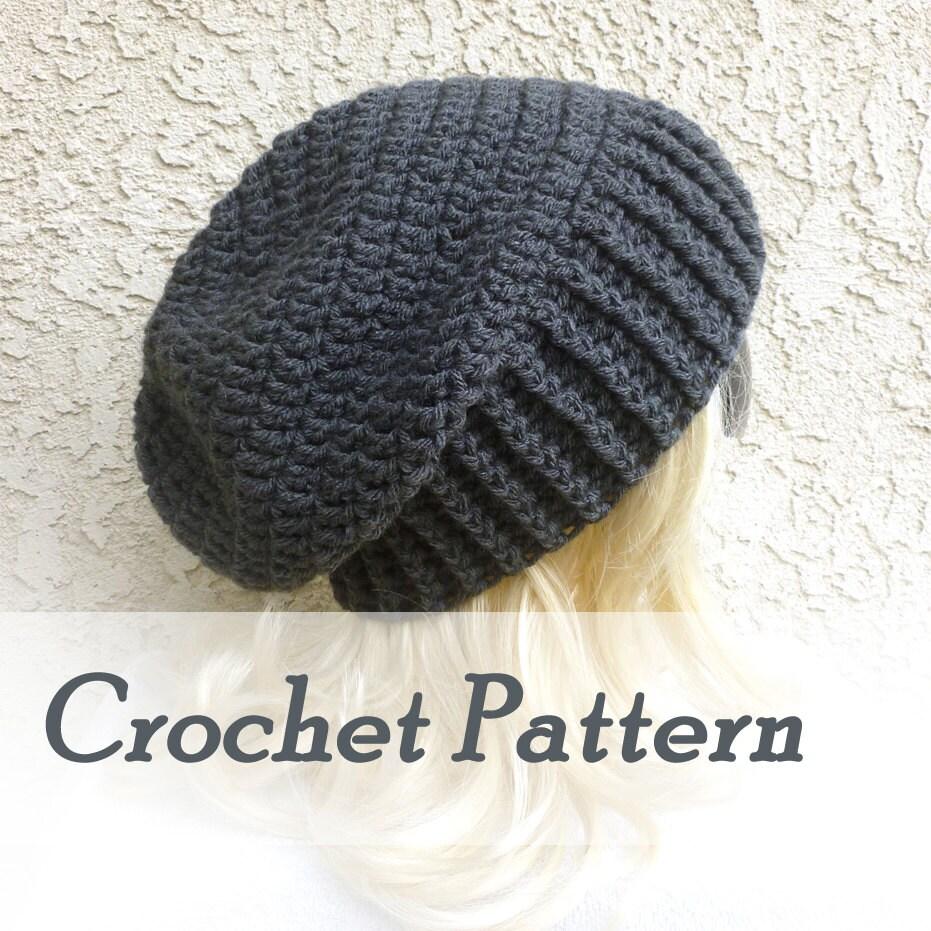 Crochet Pattern Instant Download Biker Ribbed Slouchy Beanie Etsy
