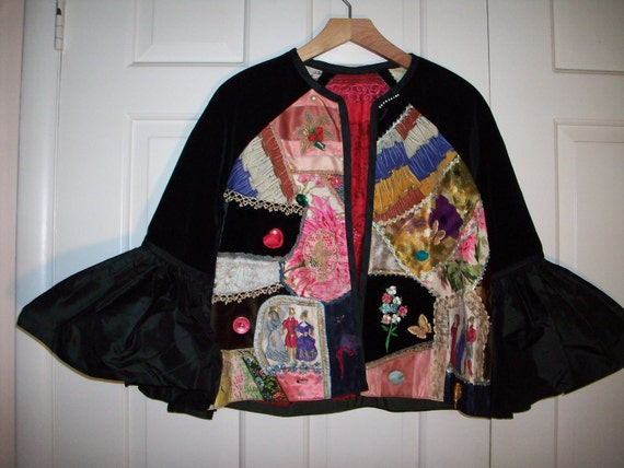 Couture tapistry collage 60s jacket with ruffled s