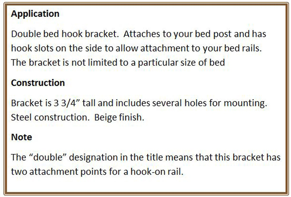 Bed Frame to Bed Post Double Hook Bracket from acrossandbeyond on ...
