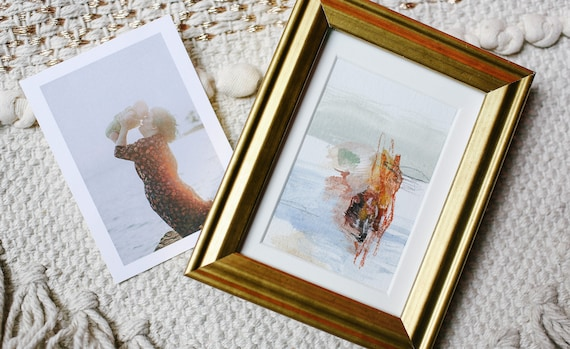 SINGLE FRAMED TINY - Personalized Custom Abstract Painting from Your Photo | Unique Engagement, Anniversary, Wedding gift