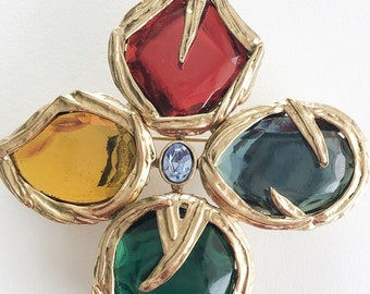 4c38d282500 Authentic YSL Yves Saint Laurent Cross Gripoix Brooch Pin Made in France Large  Vintage