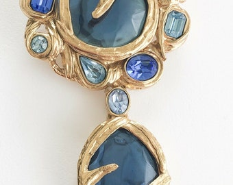ac9703a1874 Authentic YSL Yves Saint Laurent Pin Brooch Pendant Crystal Made in France  Vintage