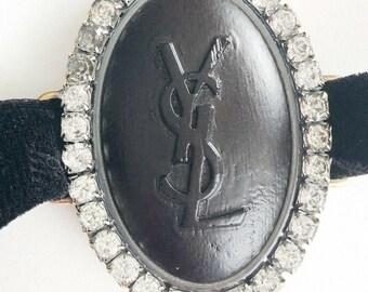 5d8fdd8f110 Authentic YSL Yves Saint Laurent Vintage Bracelet Necklace Chocker Velvet  Wood Crystal Logo