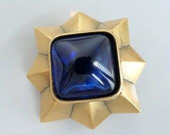 1b95e3e2f2d Authentic YSL Yves Saint Laurent Brooch Pin Royal Blue Military Vintage