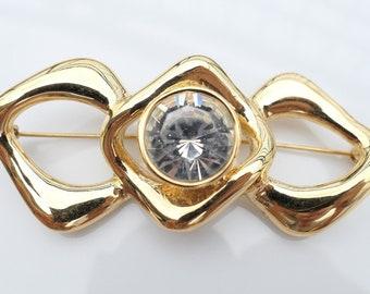 2d51fb69dab Authentic YSL Yves Saint Laurent Vintage Gold Toned Brooch Pin Sparkling  Swarovski Crystal
