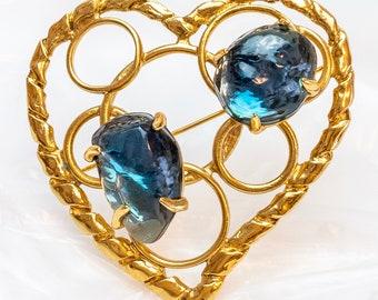 fc507d56f71 Authentic Yves Saint Laurent By Robert Goossens Vintage Openwork Huge Heart  Emerald Blue Poured Resin Brooch Pin pendant