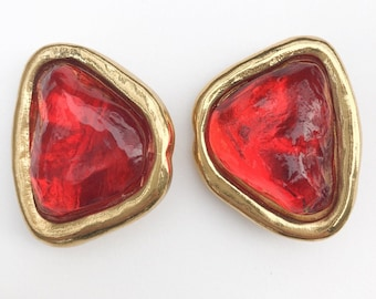 58ac98bbdc1 Authentic YSL Yves Saint Laurent Earrings Red Gripoix Poured Glass Made in  France Vintage