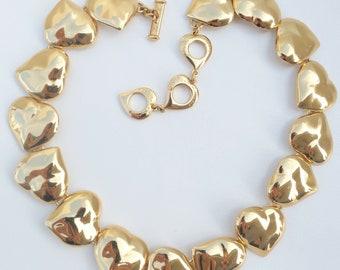 42b6e450c69 Authentic YSL Yves Saint Laurent Shiny Gold Tone Heart Bracelet Necklace Set  Vintage