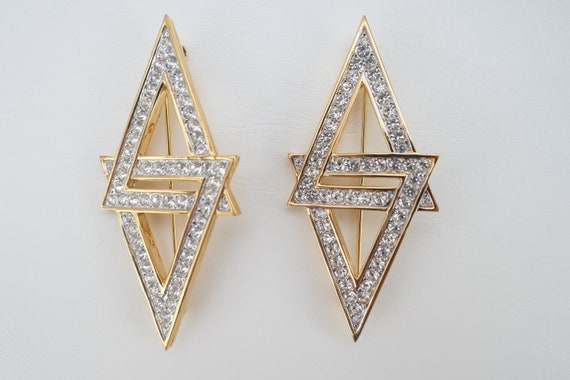 Nina Ricci double crystal triangle brooch pin vint