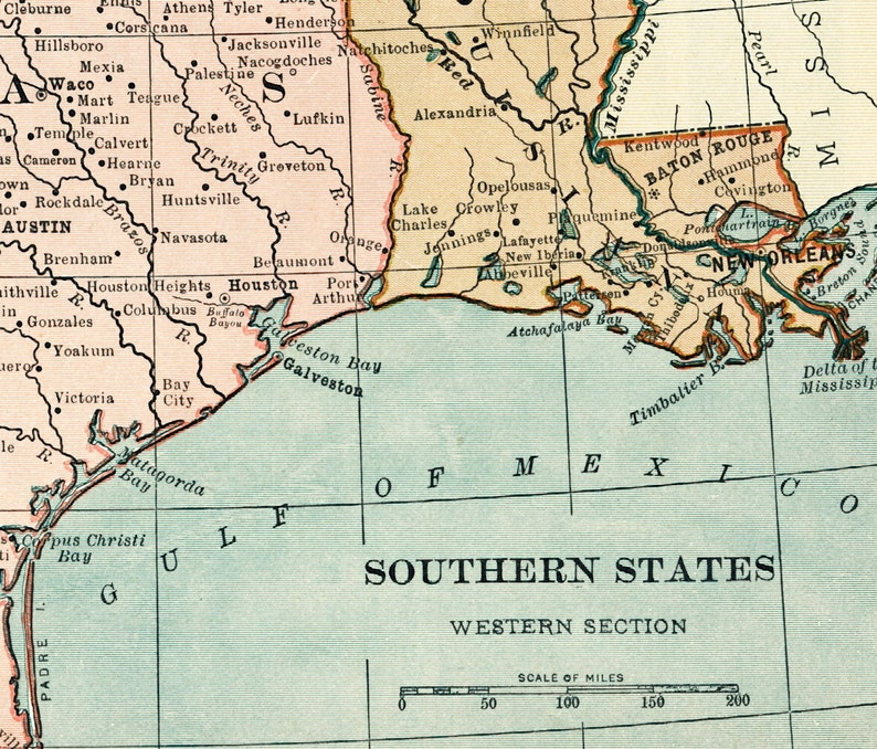 Us Southern States Map 1920s Gulf Of Mexico Map Print Texas Etsy