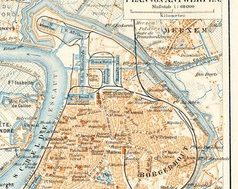 Antwerp city map  Antwerp old city plan  historic Antwerp  19th century map Belgium map : Antique 1890s lithograph original old book plate