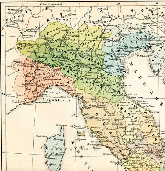 Map Of Ancient Italy Regions.Ancient Italy Historical Map Italy Before Augustus Map Italy Etsy