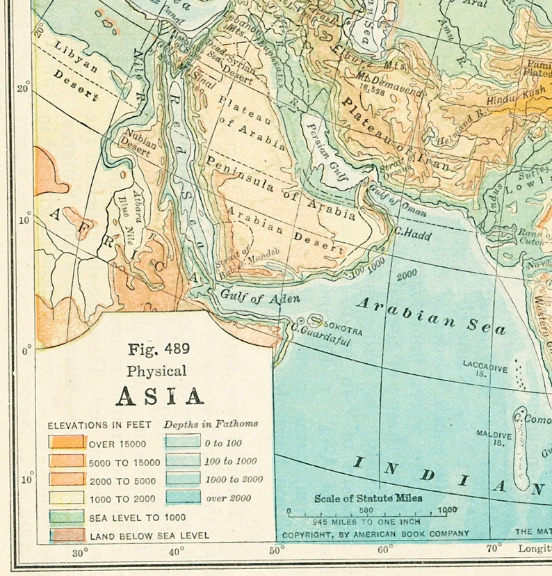 1930s Asia Map Print Asian Continent Map East Indies Map Etsy