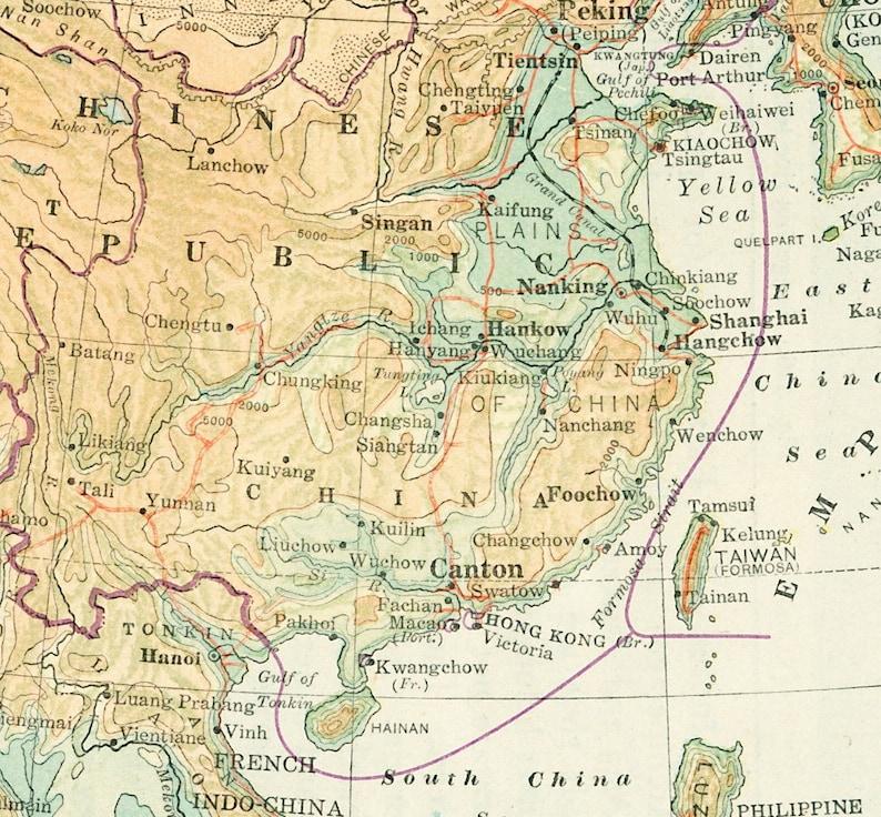 1930s China Map Print Japan Map Tibet Mongolia Map Far East Etsy