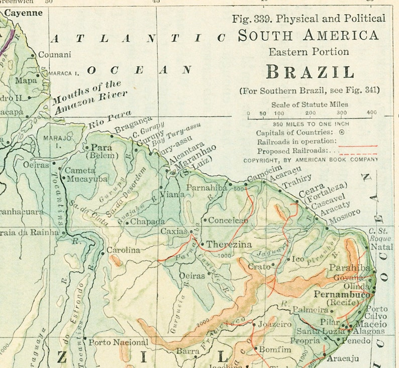 Amazon River In South America Map.1930s Brazil Map Print Amazon River Eastern South America Map Etsy