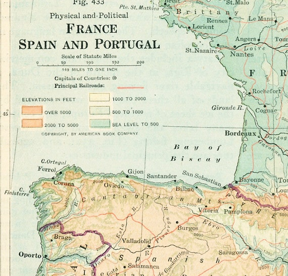 1930s France Map Print Spain Map Portugal Map Physical Map Etsy