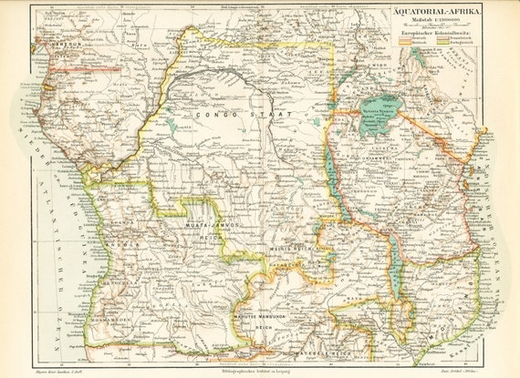 19th Century Africa Map.Colonial Central Africa Map Print European Colonies In Africa Etsy
