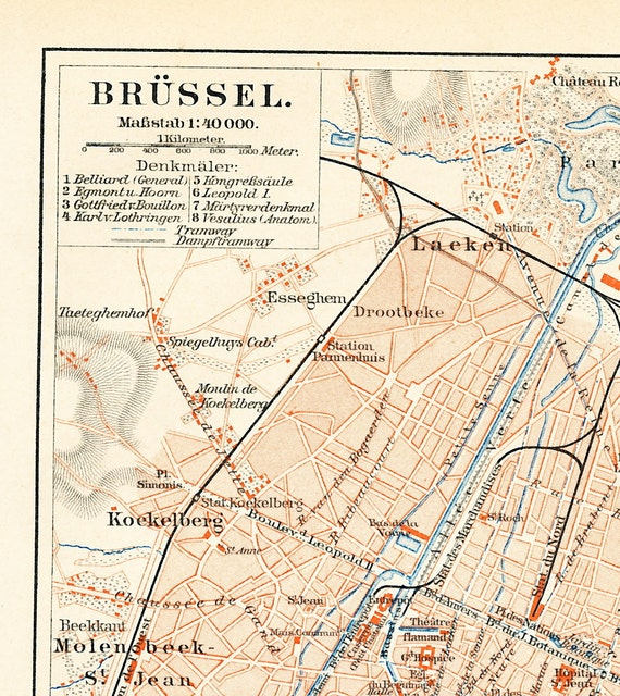 Brussels city map Brussels historic city plan 19th century map list of  churches European Union seat: Antique 1890s lithograph