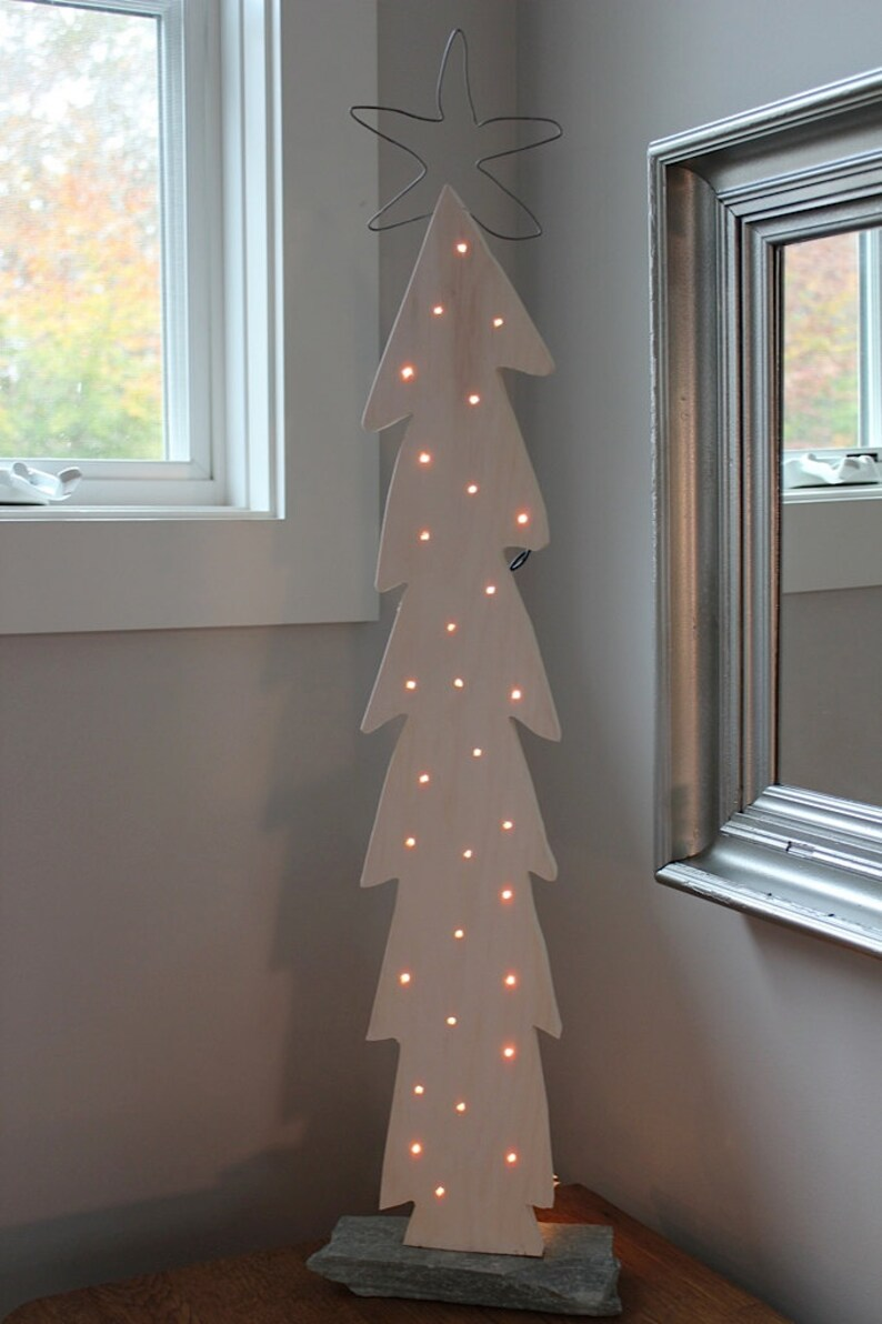 White Lighted Wood Christmas Tree with Pickled Finish  GREAT image 0