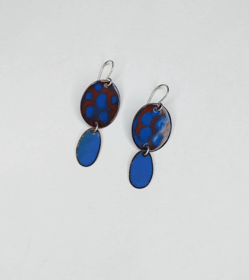 Brown and Blue Enamel Earrings