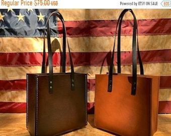 Crisp FALL Sale Leather Handbag  *Veg Tanned Leather Handbag* Hand Stitched* Made in the USA*
